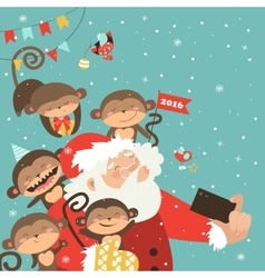 Santa and monkeys take a selfie vector image