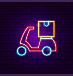 Scooter delivery neon sign vector