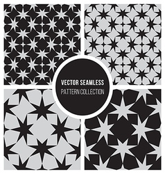 Seamless BW Geometric Star Pattern Collection vector