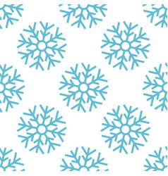 seamless pattern with blue christmas snowflake vector image