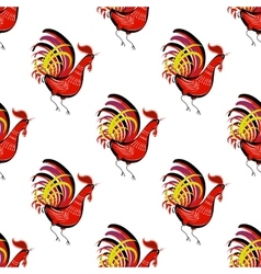 Seamless pattern with color fire cock looking at vector