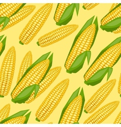 Seamless pattern with fresh ripe corn cobs vector