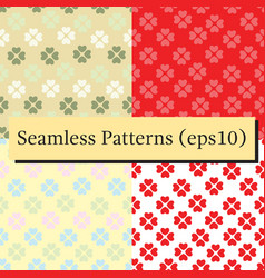 Seamless patterns set with flower of hearts vector