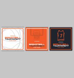 set basketball tournament banners modern vector image