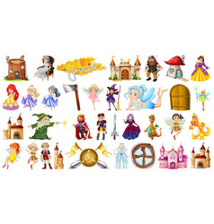 set medieval characters vector image