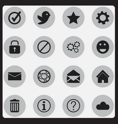 Set of 16 editable web icons includes symbols vector