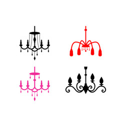 Set of chandelier icons in silhouette style vector