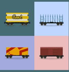 Set of freight rail transport vector