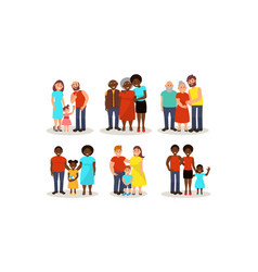 Set with different ethnic families various ages vector