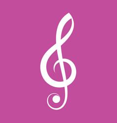 simple elegant white treble clef icon vector image