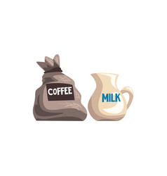 Small bag of coffee and milk jug cartoon vector