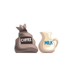 small bag of coffee and milk jug cartoon vector image