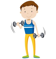 Strong man lifting weights vector
