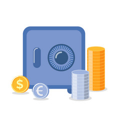 Strongbox with coins euro and dollar money vector