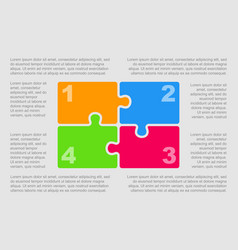 The puzzle jigsaw pieces infographic four steps vector