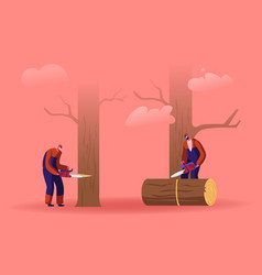 two men loggers sawing logs and trees in forest vector image