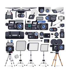 Videographer equipment icons in flat style vector