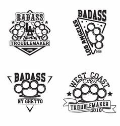 vintage badass logo design vector image
