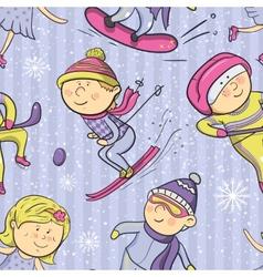 Winter sports cartoon sportsmen seamless pattern vector image