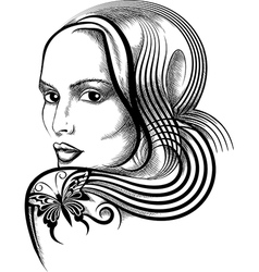 Woman with butterfly tattoo vector