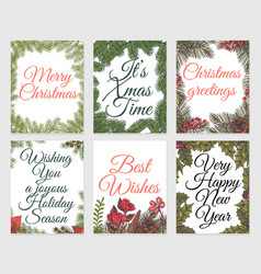 xmas sketch card set vintage christmas paint vector image