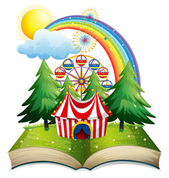 book with circus tent in the park vector image