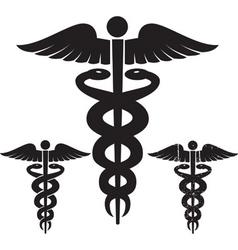 caduceus medical signs set vector image