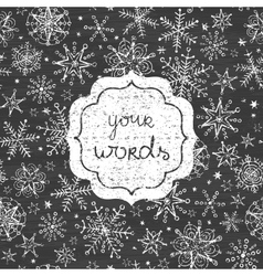 chalkboard snowflakes black and white frame vector image