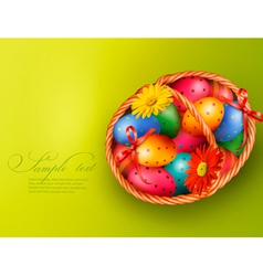 Easter background with Easter eggs and flowers vector image vector image