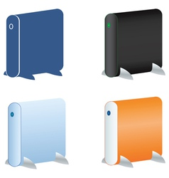 external hdd icons set vector image vector image