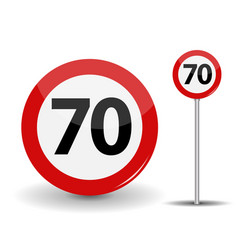 round red road sign speed limit 70 kilometers per vector image