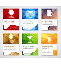 Template polygonal cards with glasses for drinks vector image