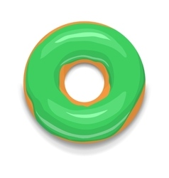 Green glazed donut icon cartoon style vector image vector image