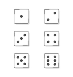 Six white cartoon-style dice cubes vector image