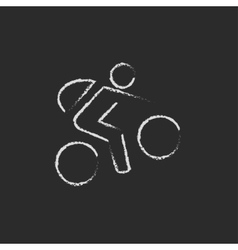 Bike and cyclist icon drawn in chalk vector image vector image