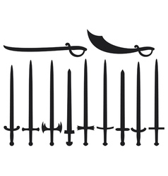 Collection of swords and sabers vector image vector image