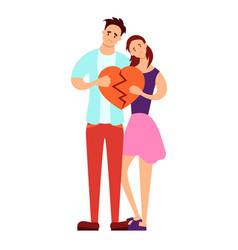 couple holding a broken heart vector image