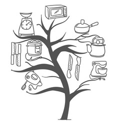Doodle of kitchen set tree style vector