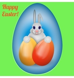 Happy Easter Rabbit with multi-colored Easter vector image