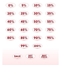 Retail sale percents icons set for your design vector image vector image