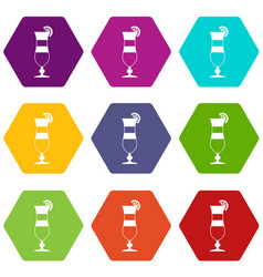 cocktail icon set color hexahedron vector image