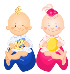 little baby boy and girl vector image