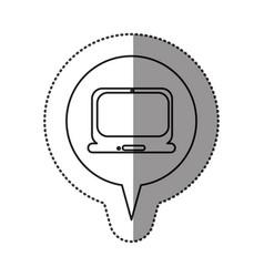 monochrome contour sticker with laptop computer vector image vector image