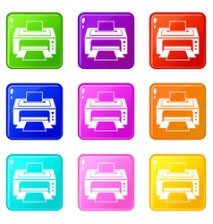 printer set 9 vector image