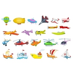 set of air and water transport vector image vector image