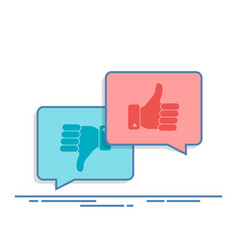 thumbs up and thumbs down symbol in speech bubbles vector image