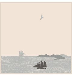 Vintage seascape with ships mountain bird vector image vector image