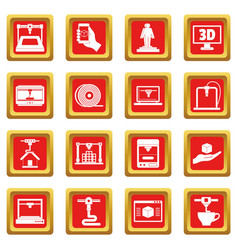 3d printing icons set red vector