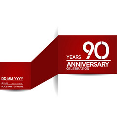 90 years anniversary design with red and white vector