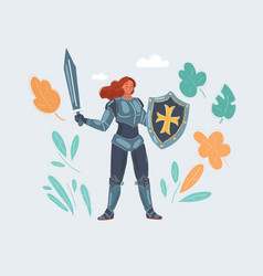 a knight girl woman in vector image